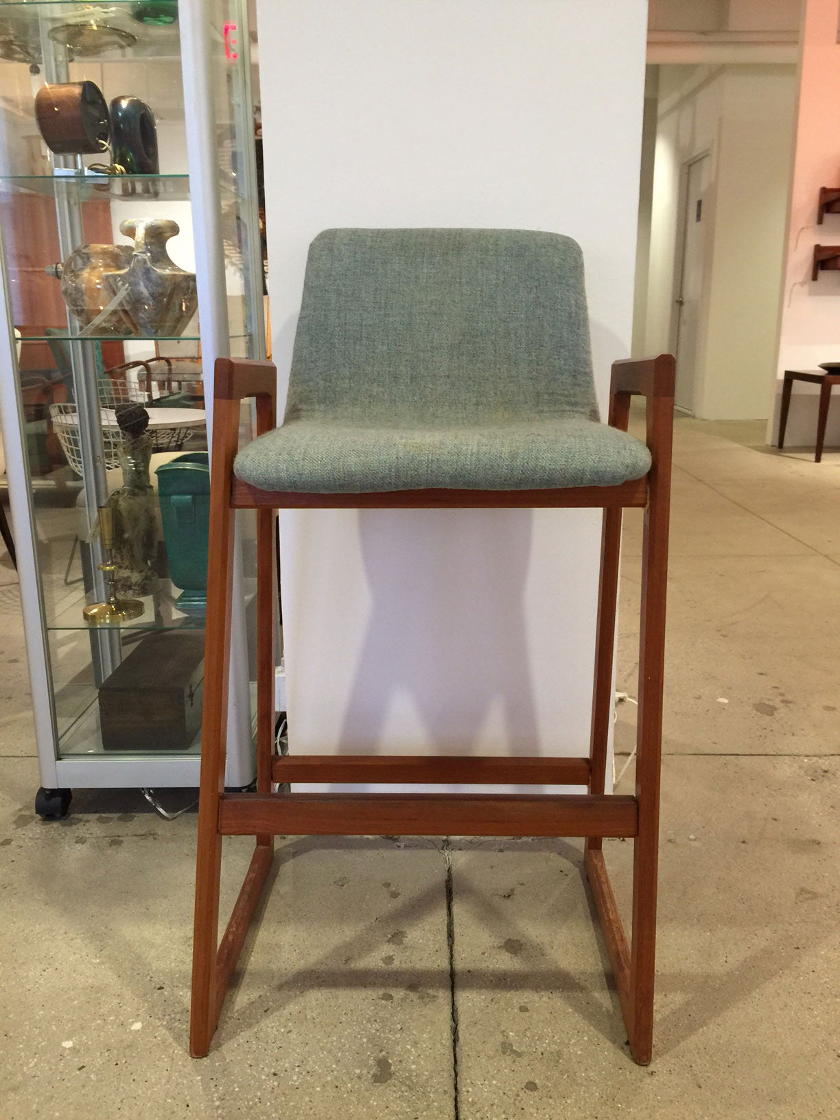 Mid-20th Century Vintage Danish Teak Bar Stool with Arms in COM (6 Available) For Sale