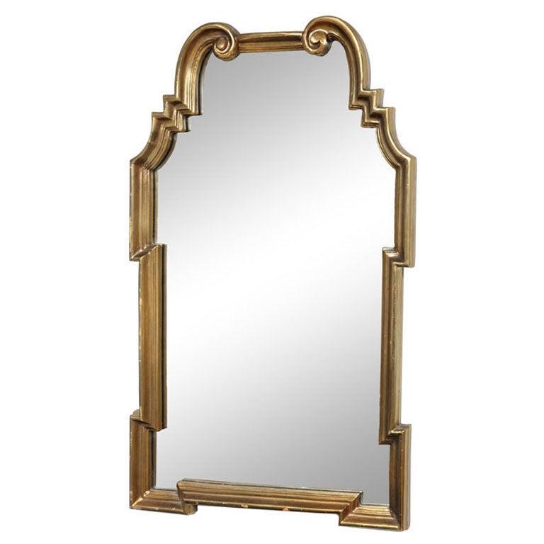 Hollywood Regency Gold Leaf Gilt Mirror