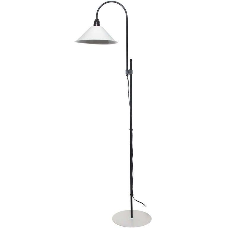 Minimalist Adjustable Height White And Black Floor Lamp For Sale