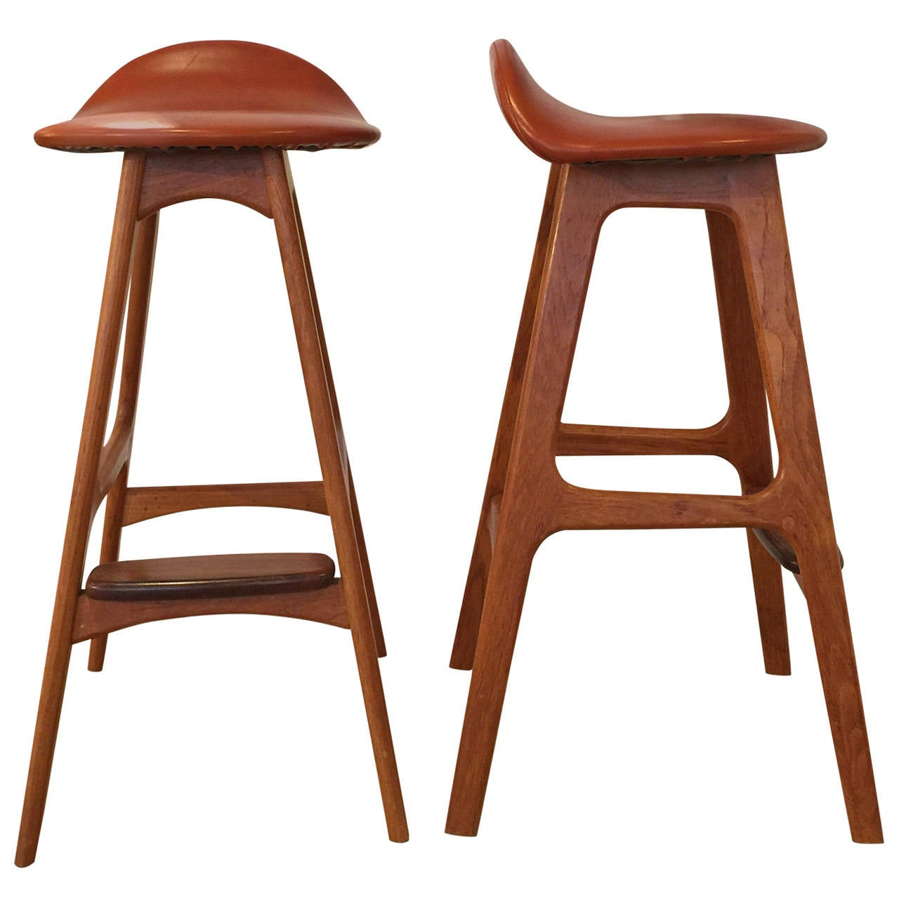 Pair Of Vintage Danish Teak Bar Stools By Eric Buck At 1stdibs