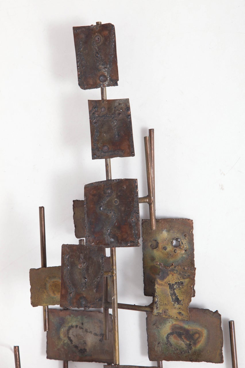 Metal Brutalist Wall-Mounted Sculpture by Curtis Jere For Sale