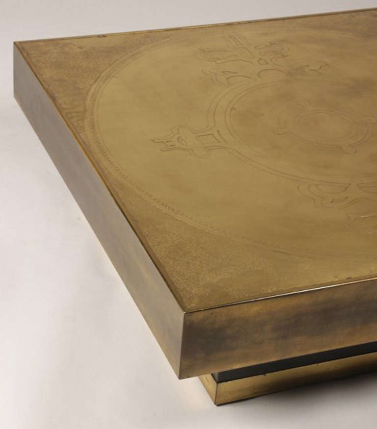Belgian Marc D'Haenens Etched Bronze Coffee Table For Sale