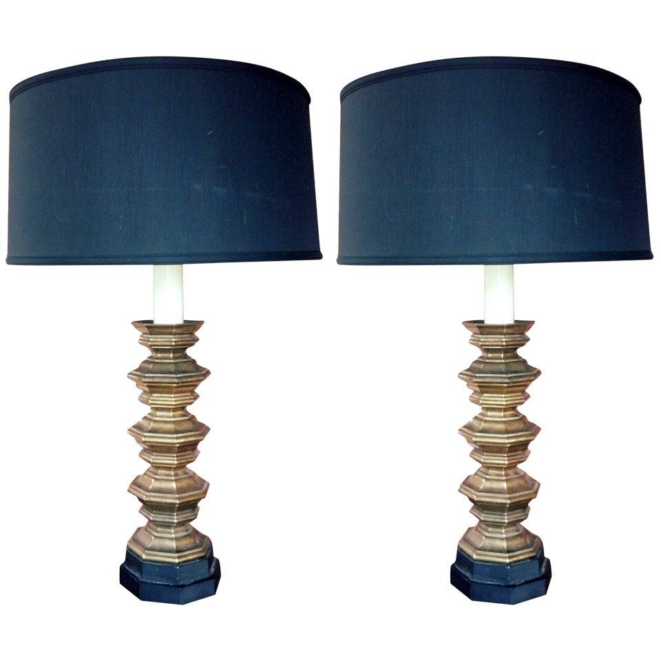 Pair of Designer Bronze Lamps