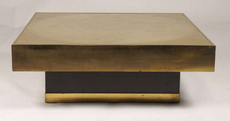 Marc D'Haenens Etched Bronze Coffee Table 3 - Marc D'Haenens Etched Bronze Coffee Table For Sale At 1stdibs