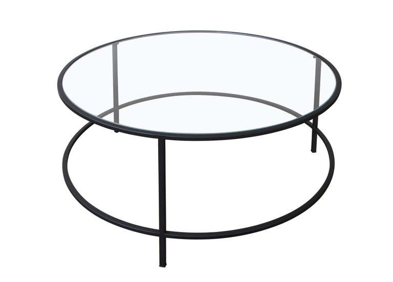 Steel and glass round coffee table for sale at 1stdibs for Round glass coffee tables for sale