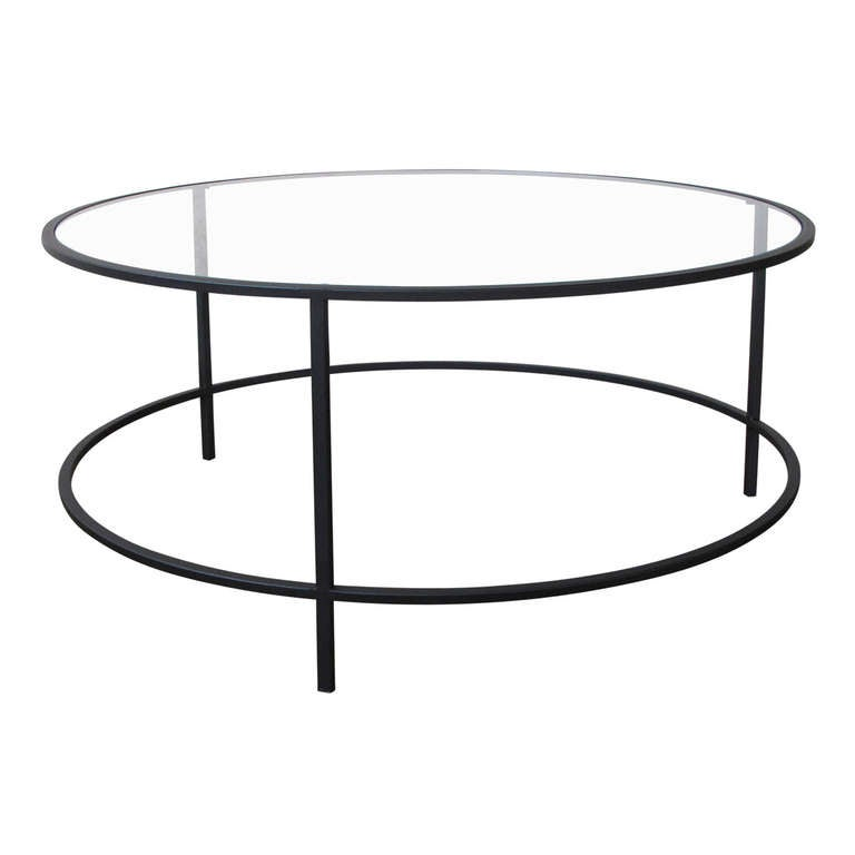 Steel And Glass Round Coffee Table At 1stdibs