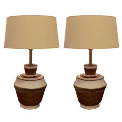 Pair of White and Tan Pottery Table Lamps by Zaccagnini for Raymor