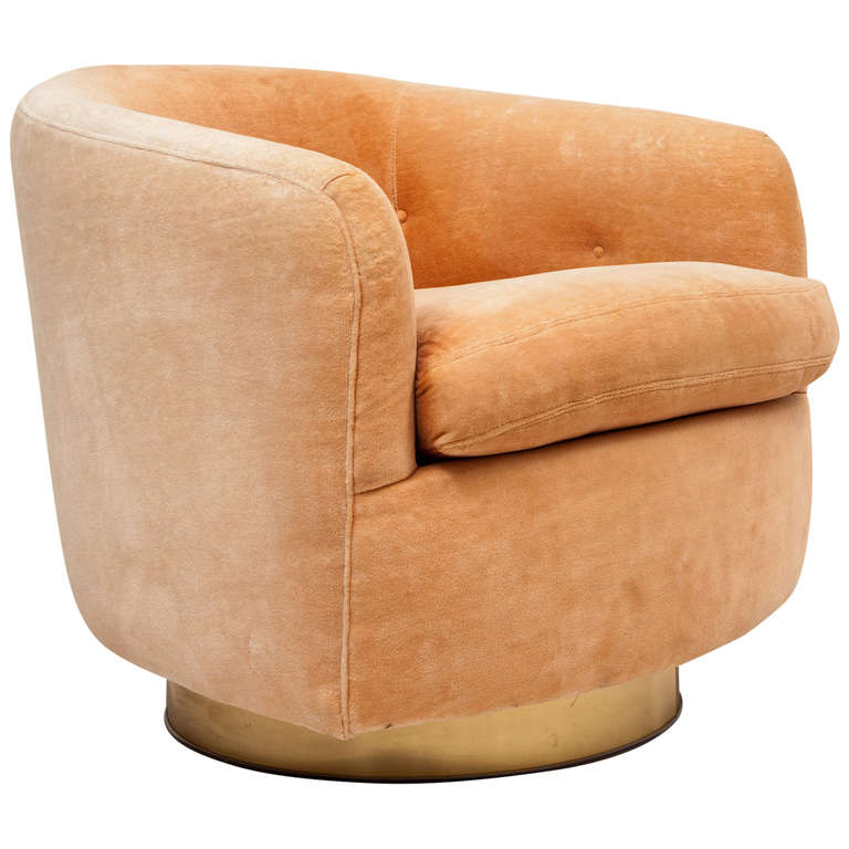 Brass Based Swivel Tub Chair By Milo Baughman For Thayer Coggin 1