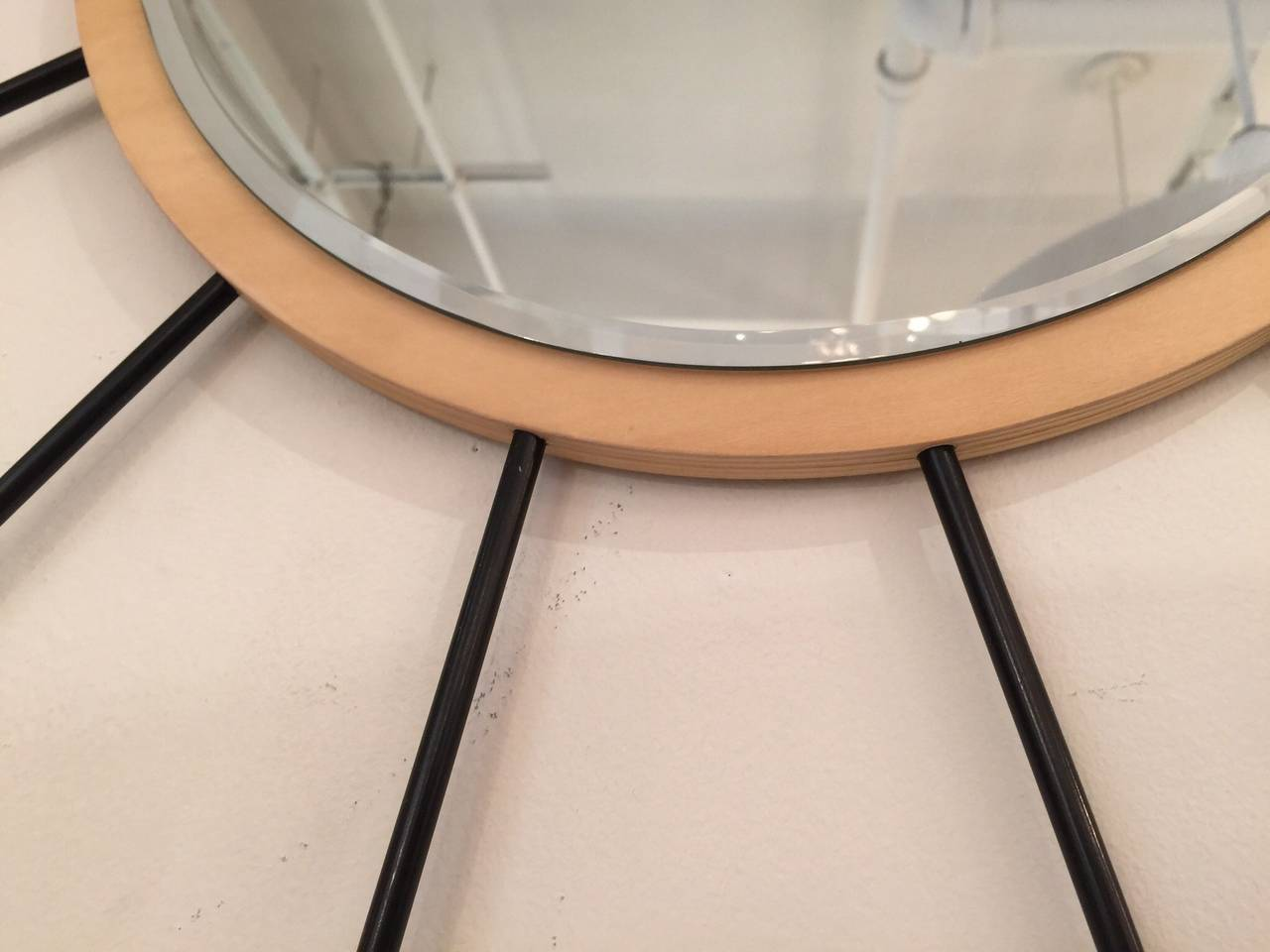 American Starburst Wood Mirror For Sale