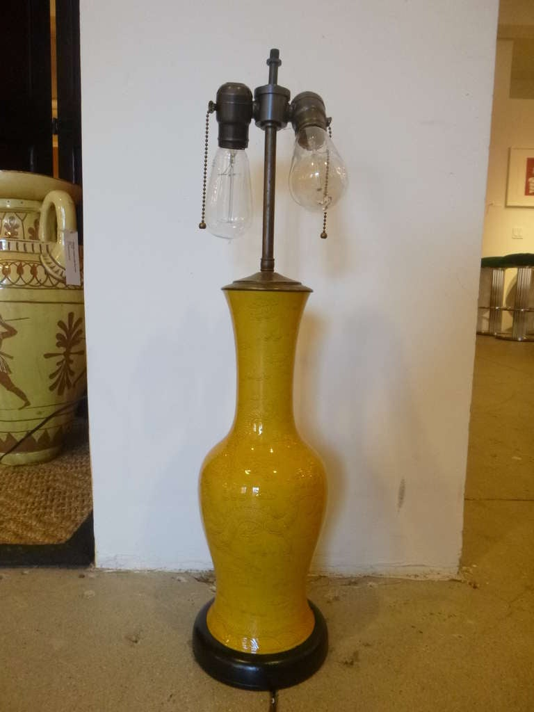 Antique Chinese Imperial Yellow Table Lamp For Sale At 1stdibs