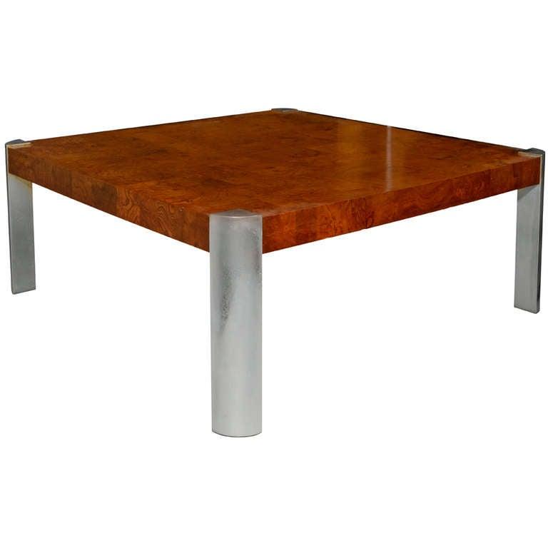 Milo Baughman Burl And Steel Coffee Table At 1stdibs
