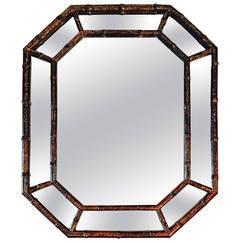 1960s Faux Toirtoiseshell Octagonal Mirror