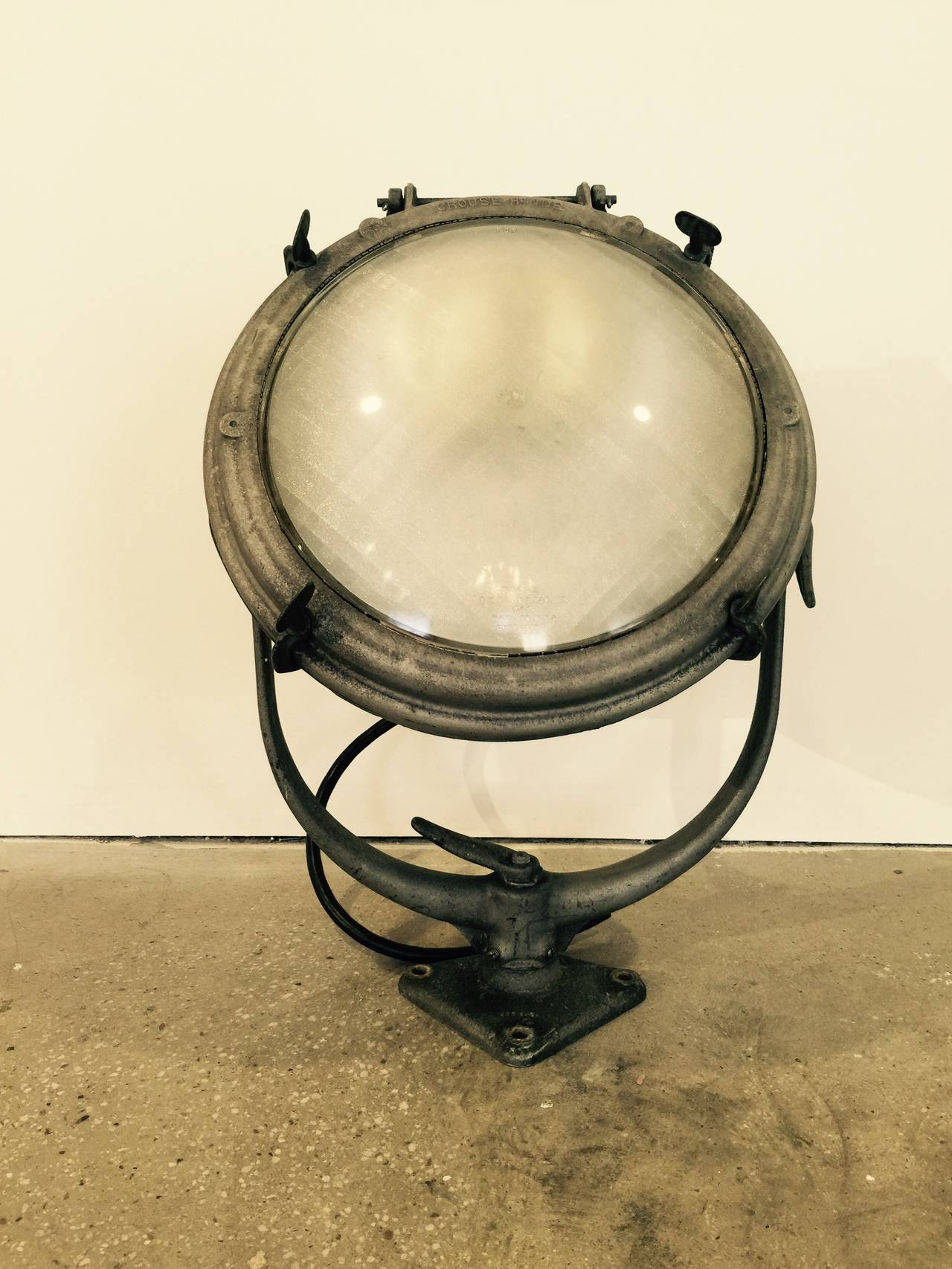 Vintage nautical or industrial ship spotlight / search light / lantern by Crouse Hinds. USA, circa 1930.  For display purposes only; not tested for use.    Please see our other listings or contact us for other styles of sizes of similar spot