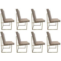 Set of Six Brass Dining Chairs by Milo Baughman