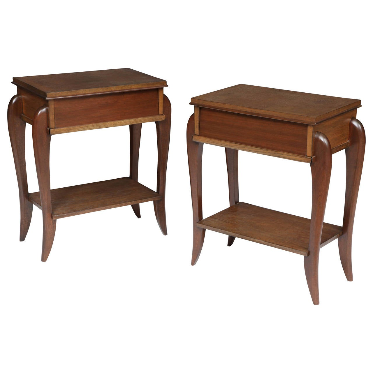 Pair of 1950s French Nightstands with Drawer and Shelf