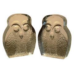 Rare Pair of Blenko Owl Form Bookends