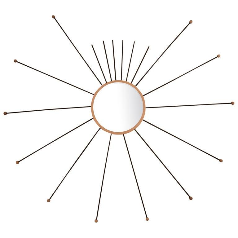 Starburst Wood Mirror For Sale