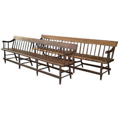 Pair of F. A. Sinclair of Motteville Deacons Benches