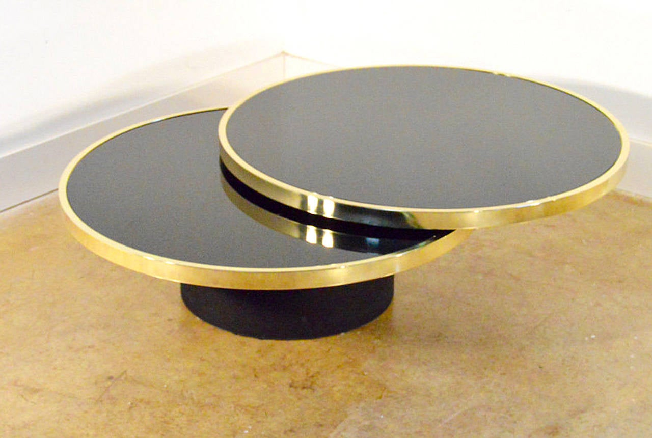 Mid-Century Modern Design Institute of America Brass and Glass Swivel Cocktail Table For Sale