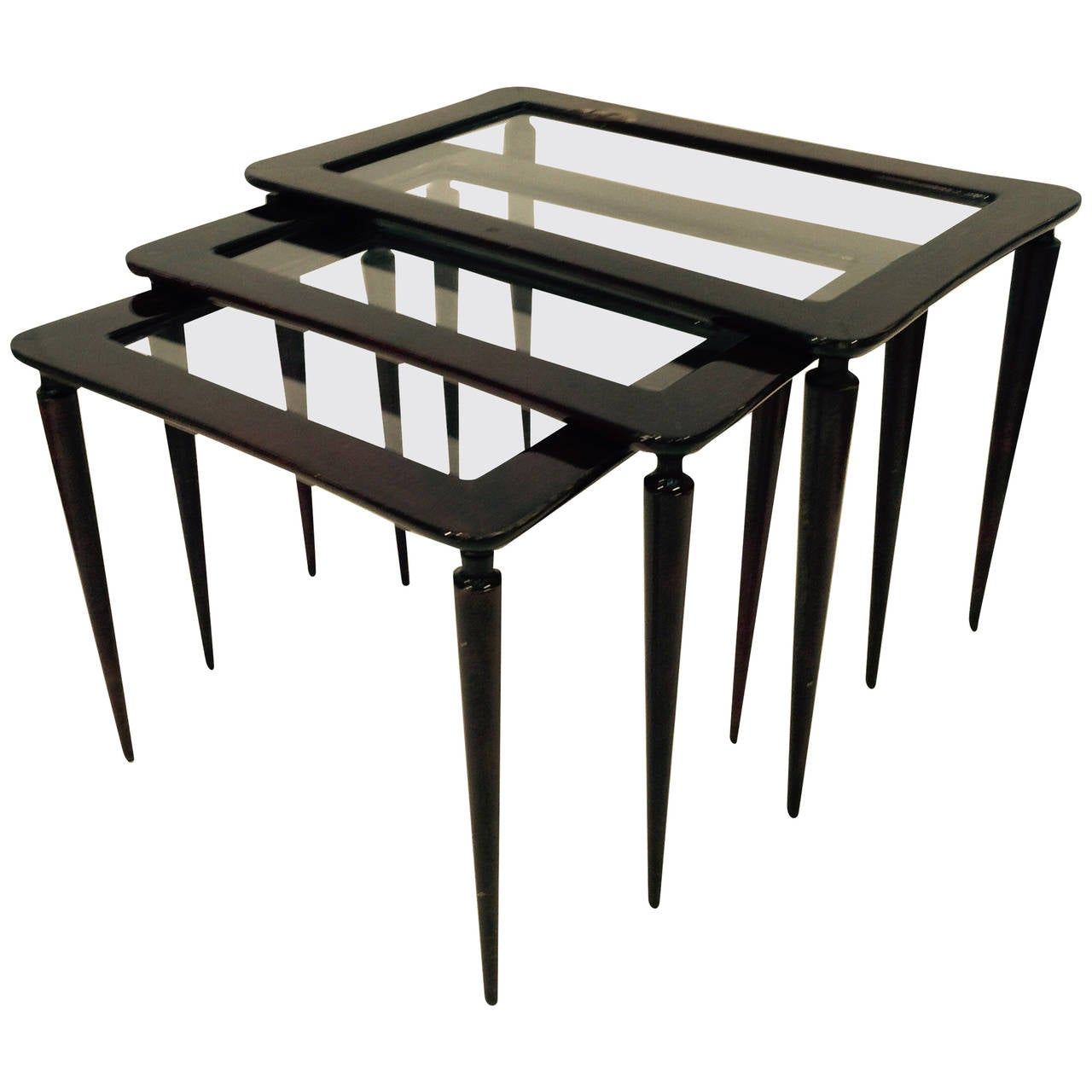 Italian lacquered wood and glass nesting tables for sale