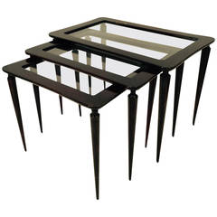 Italian Lacquered Wood and Glass Nesting Tables