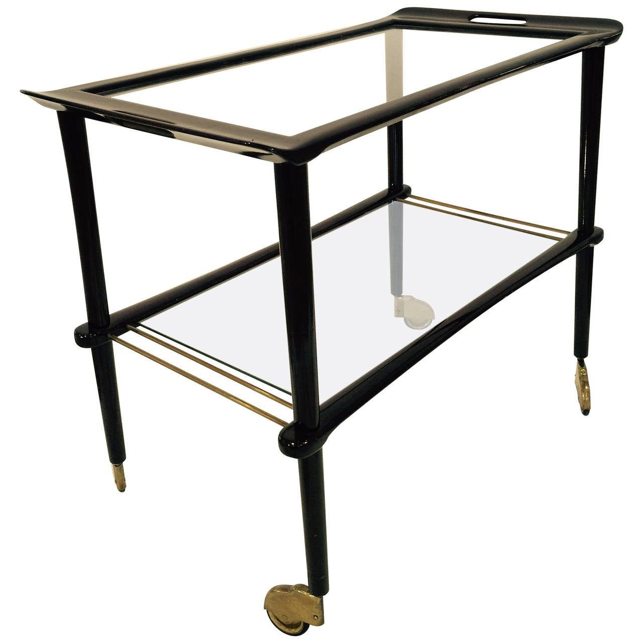 Italian Lacquered Wood and Glass Bar Cart