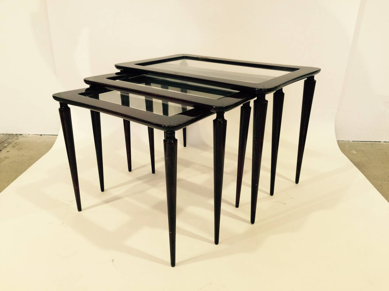 Wood Stacking Tables ~ Italian lacquered wood and glass nesting tables for sale