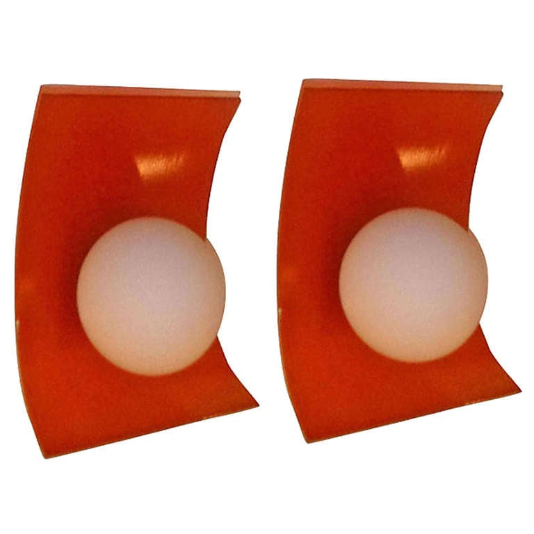 Pair of 1970s French Orange Sconces
