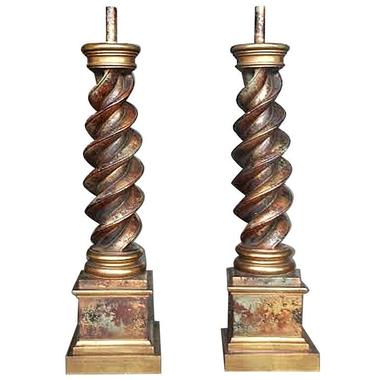 Twist Wood Columns : Large gilded twist column lamps by chapman at stdibs
