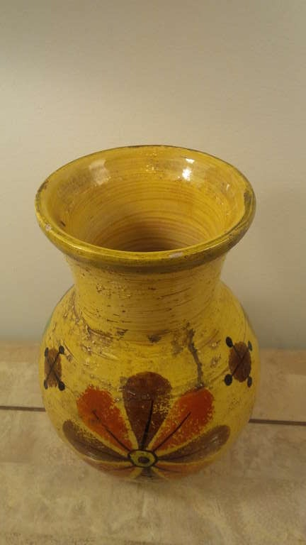 Italian Yellow Pottery Vase by Rosenthal Netter For Sale