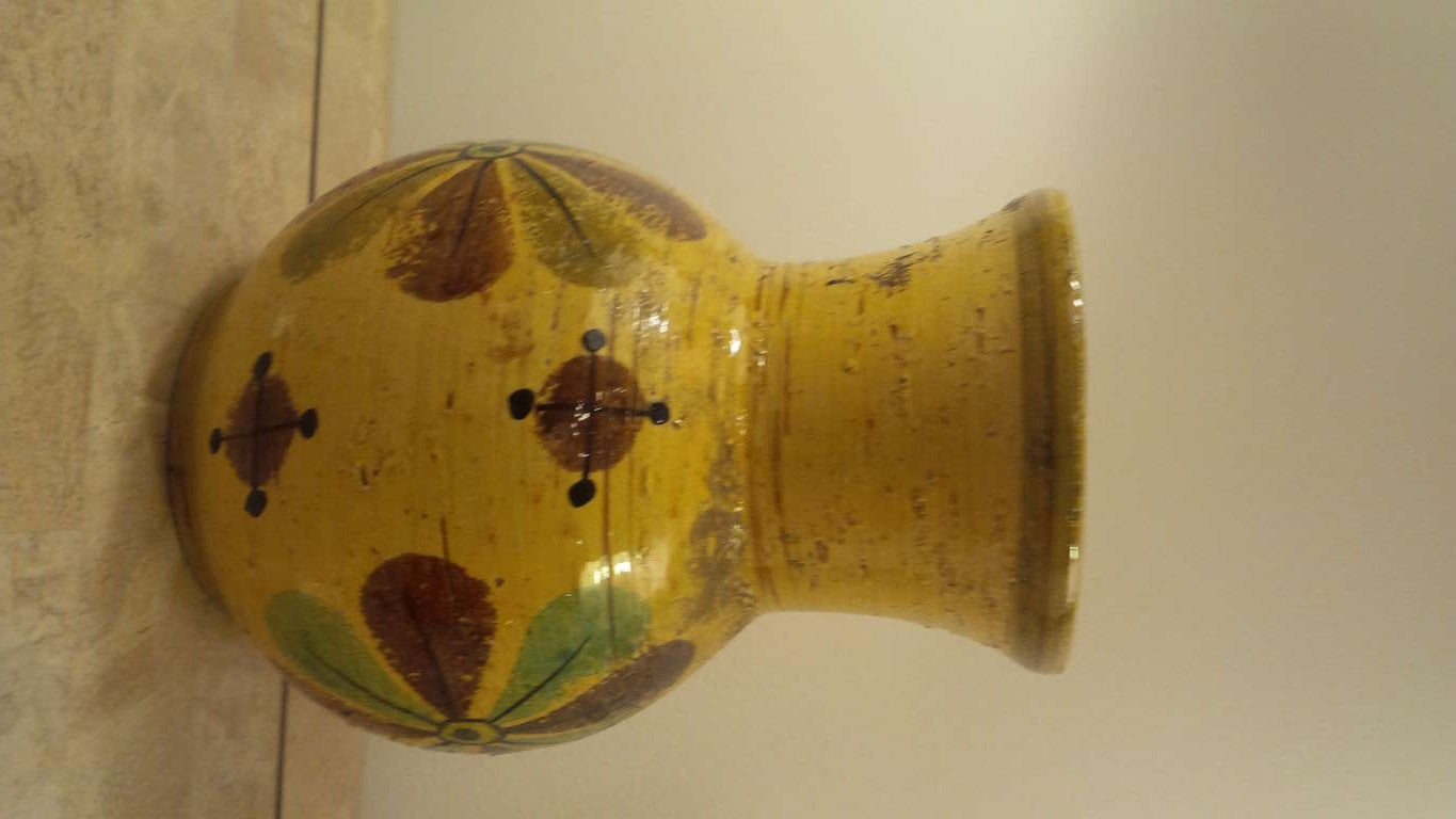 Mid-Century Modern Yellow Pottery Vase by Rosenthal Netter For Sale