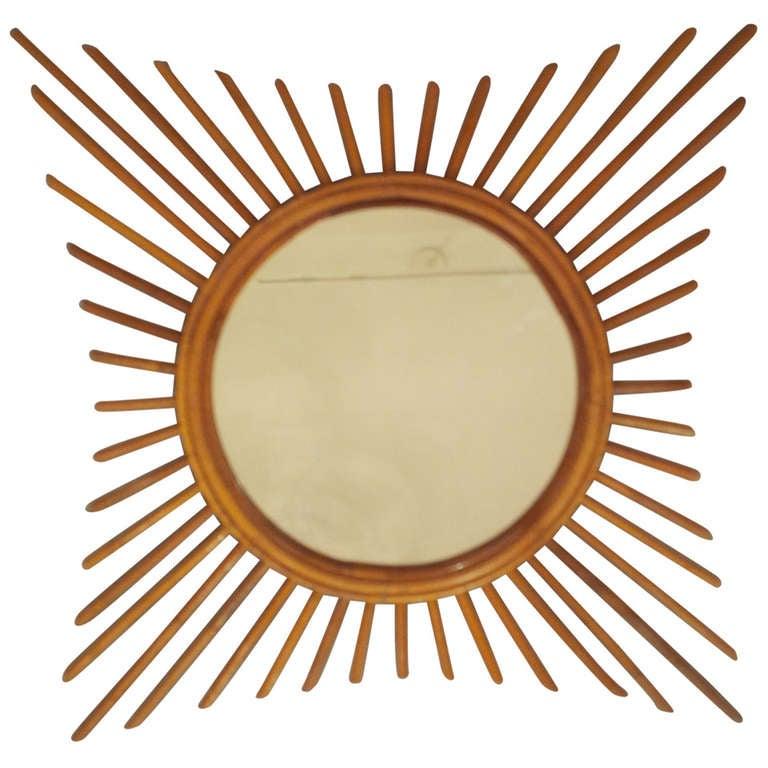 Vintage French Starburst Rattan Mirror