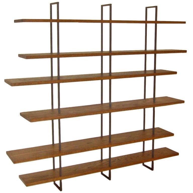 Beautiful Steel U0026 Wood Bookcase For Sale