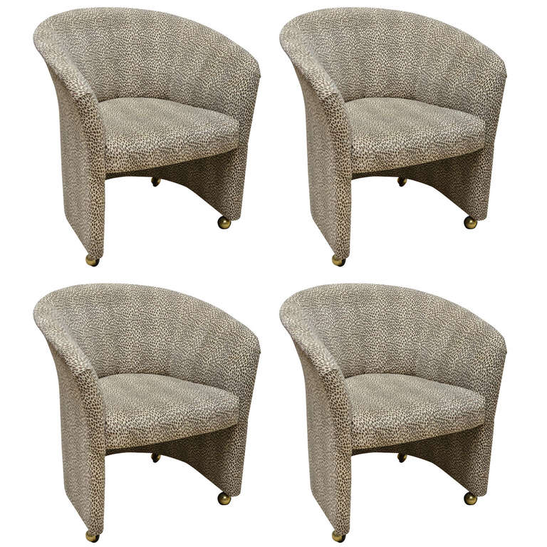 Set Of Four Baby Leopard Suede Barrel Back Armchairs On