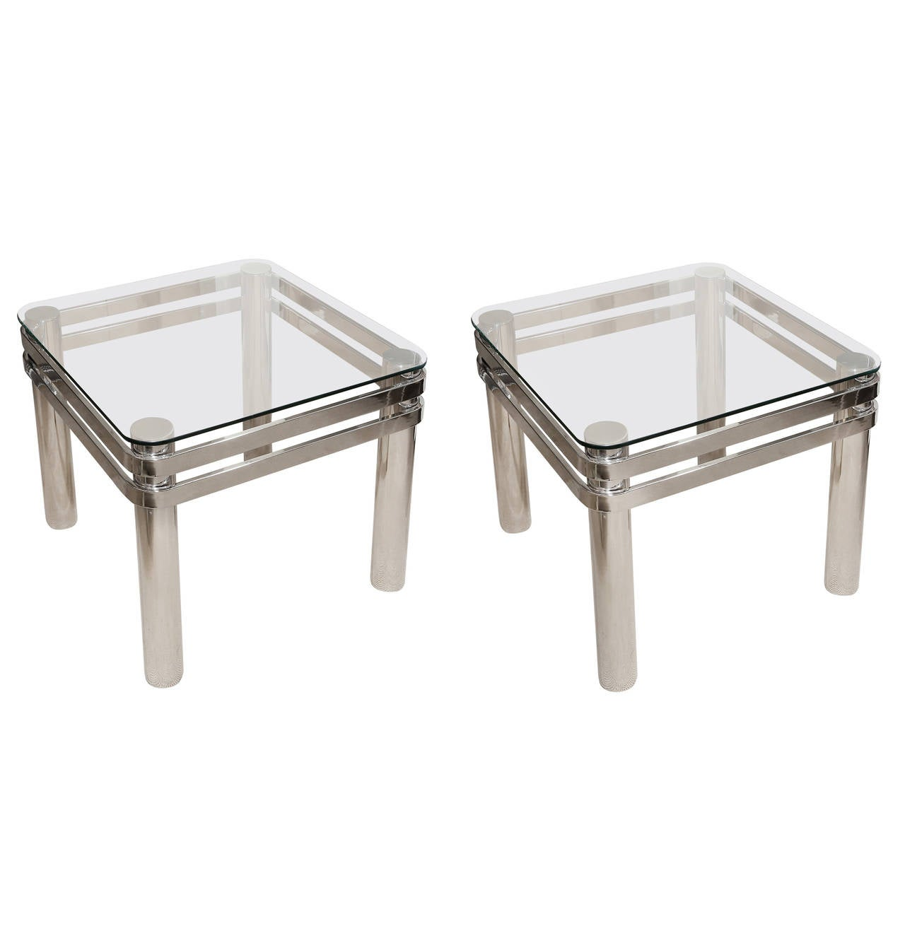Attractive pair of mid century chrome occasional tables for Glass top occasional tables