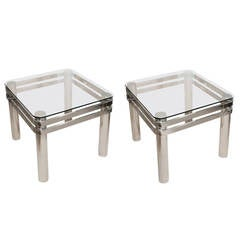 Attractive Pair of Mid-Century Chrome Occasional Tables with Glass Tops