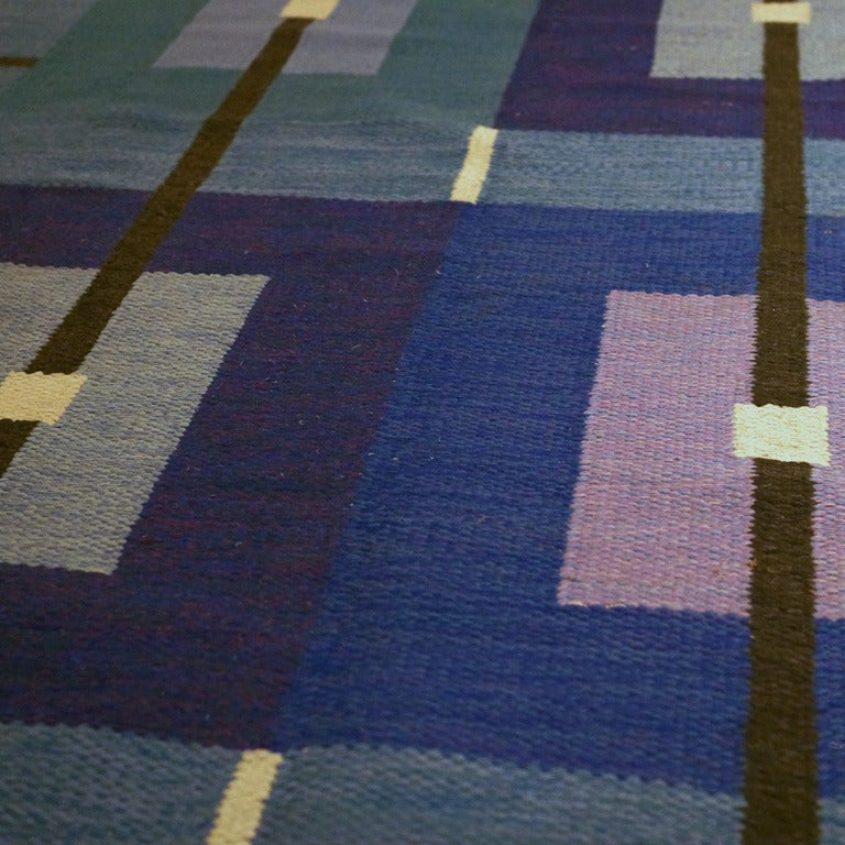 Swedish flat-weave Rolakan carpet by Agda Österberg. Sweden, circa 1960. Measures: 62.5? x 100.5?. Signed AO¨ and Agda Österberg. Reference number GDF-046.