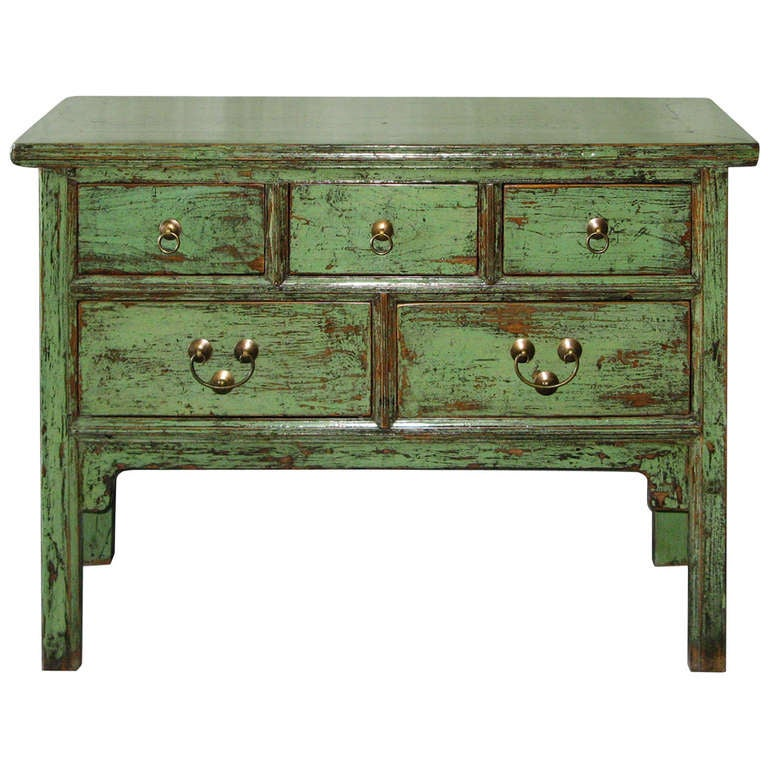 5 Drawer Green Console Table 1