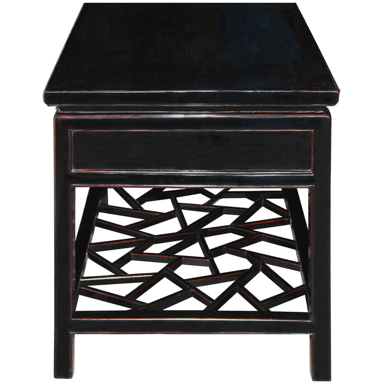 Late 19th Century Four-Drawer Black Coffee Table For Sale