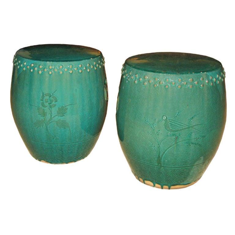 Green Ceramic Garden Stool At 1stdibs