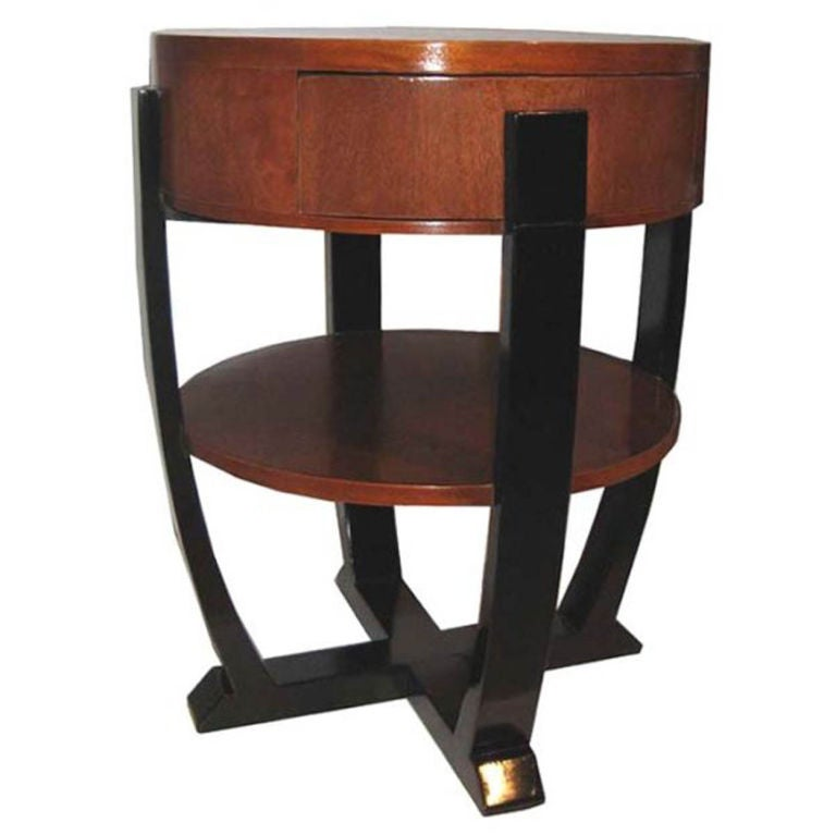 Lacquered brown and black drum shaped side table at 1stdibs for Drum side table