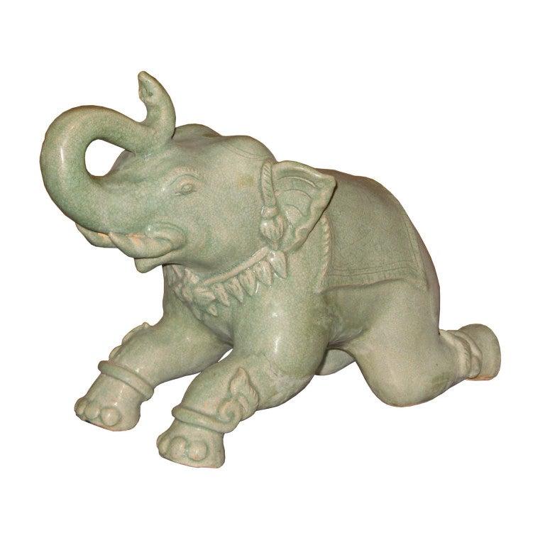 Vintage Celadon Elephant