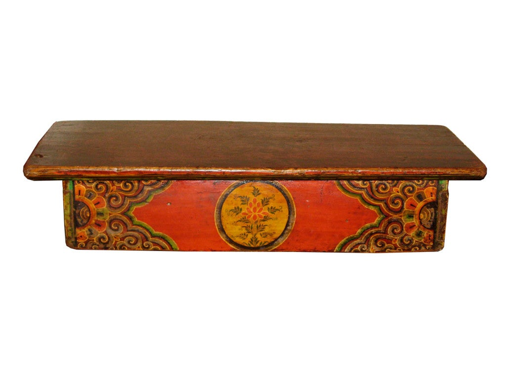 Antique Tibetan Buddhist Prayer Table Usedfor Placing Prayer Books During  Meditation. It Is Painted With