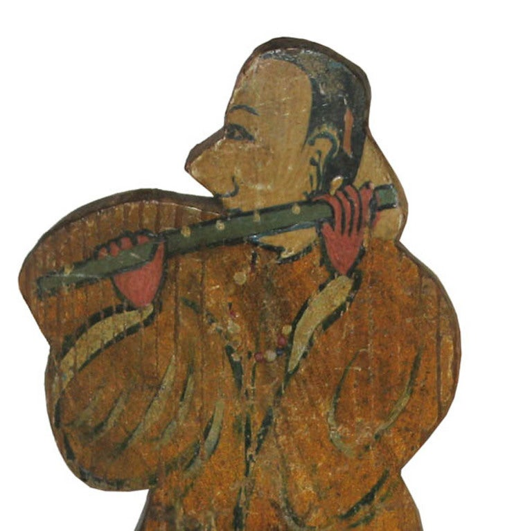 Vintage Korean Folk Art hand-painted musician in traditional costume playing a flute. Originally used by shamans as a ceremonial figure.