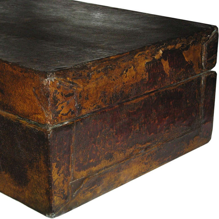 Large Chinese Leather Box In Distressed Condition In San Francisco, CA