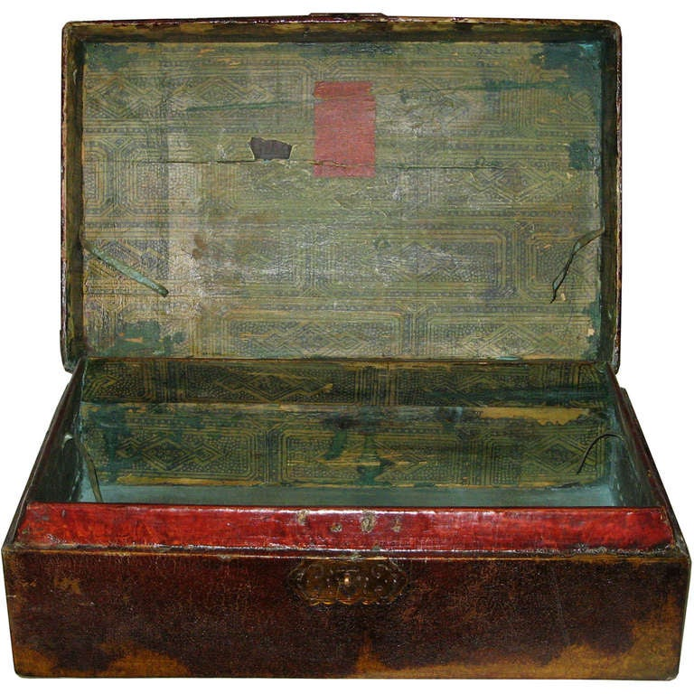 Brass Large Chinese Leather Box