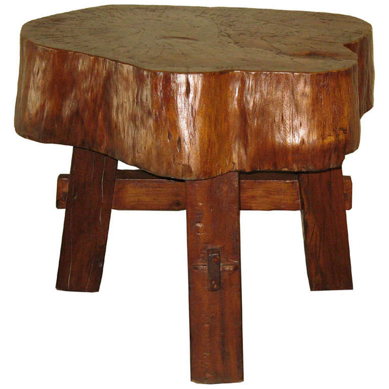 Wood Trunk Side Table