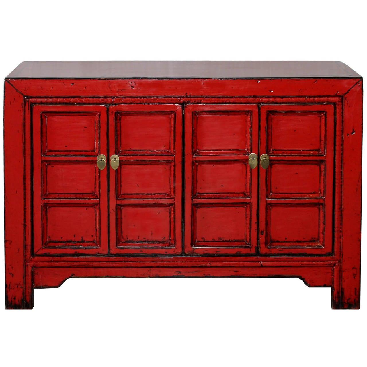 Red Paneled Door Buffet at 1stdibs
