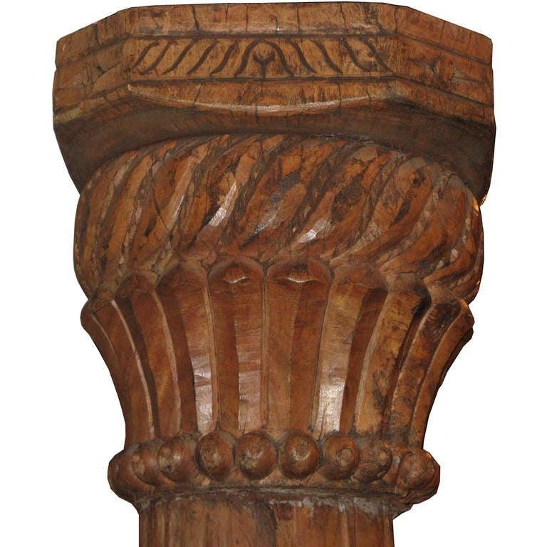 Carved teak columns pair at stdibs