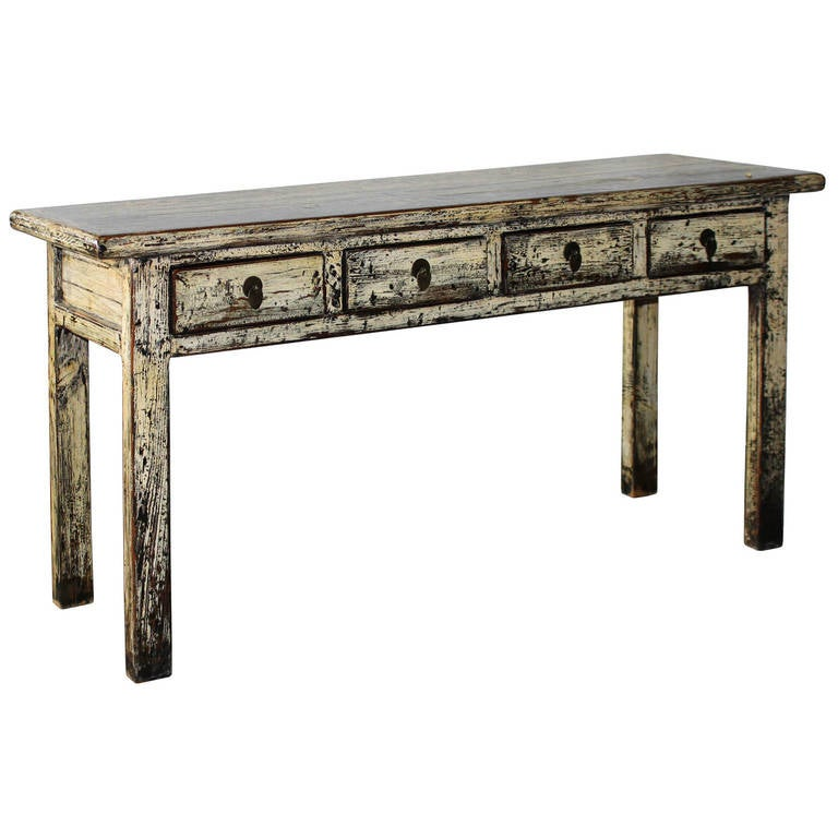 4 drawer cream console table at 1stdibs for Cream hall table